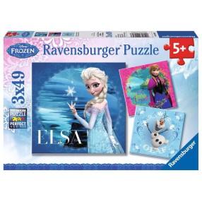 Ravensburger - Puzzle Kraina Lodu Anna, Elsa i Olaf 3 x 49 elem. 092697