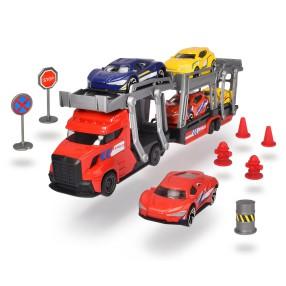 Dickie City - Zestaw Laweta z 5 samochodami + Akcesoria Czerwona 3745012 B