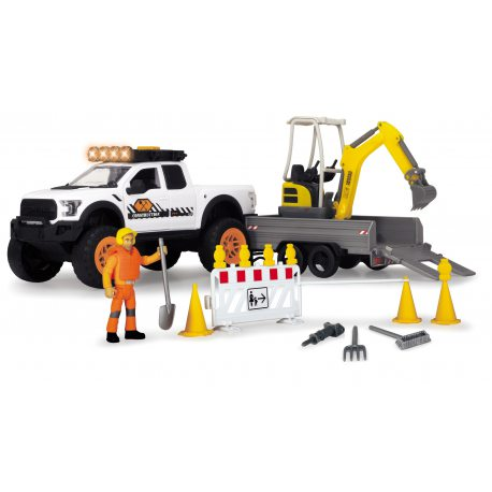 Dickie Play Life - Zestaw naprawy ulic Pojazd Ford Raptor + Akcesoria 3838004