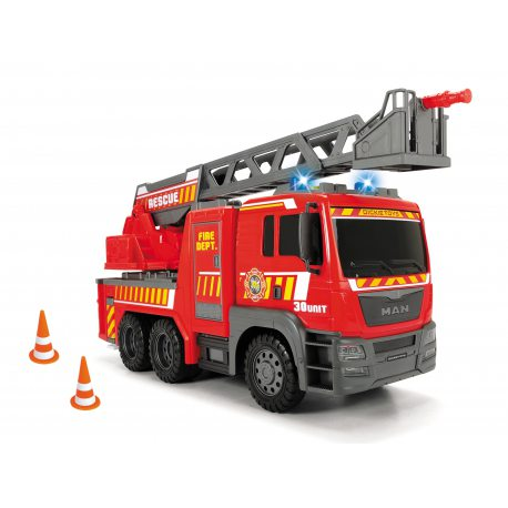 Dickie SOS - Duża Straż Pożarna MAN z drabiną 54 cm Światło Dźwięk 3719017