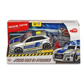 Dickie SOS - Samochód policyjny Audi RS3 1:32 15 cm Światło Dźwięk + Akcesoria 3713011