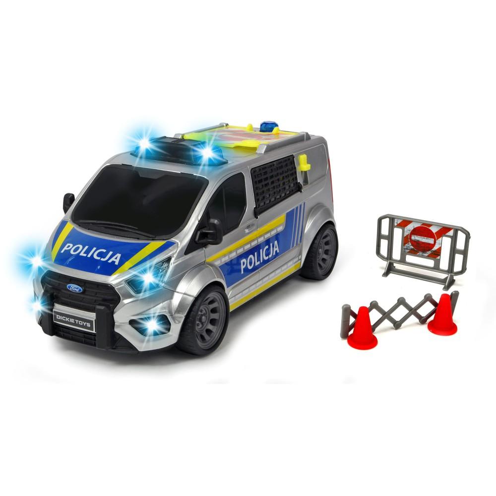 Dickie SOS - Samochód policyjny Ford Transit 1:18 28 cm Światło Dźwięk + Akcesoria 3715013