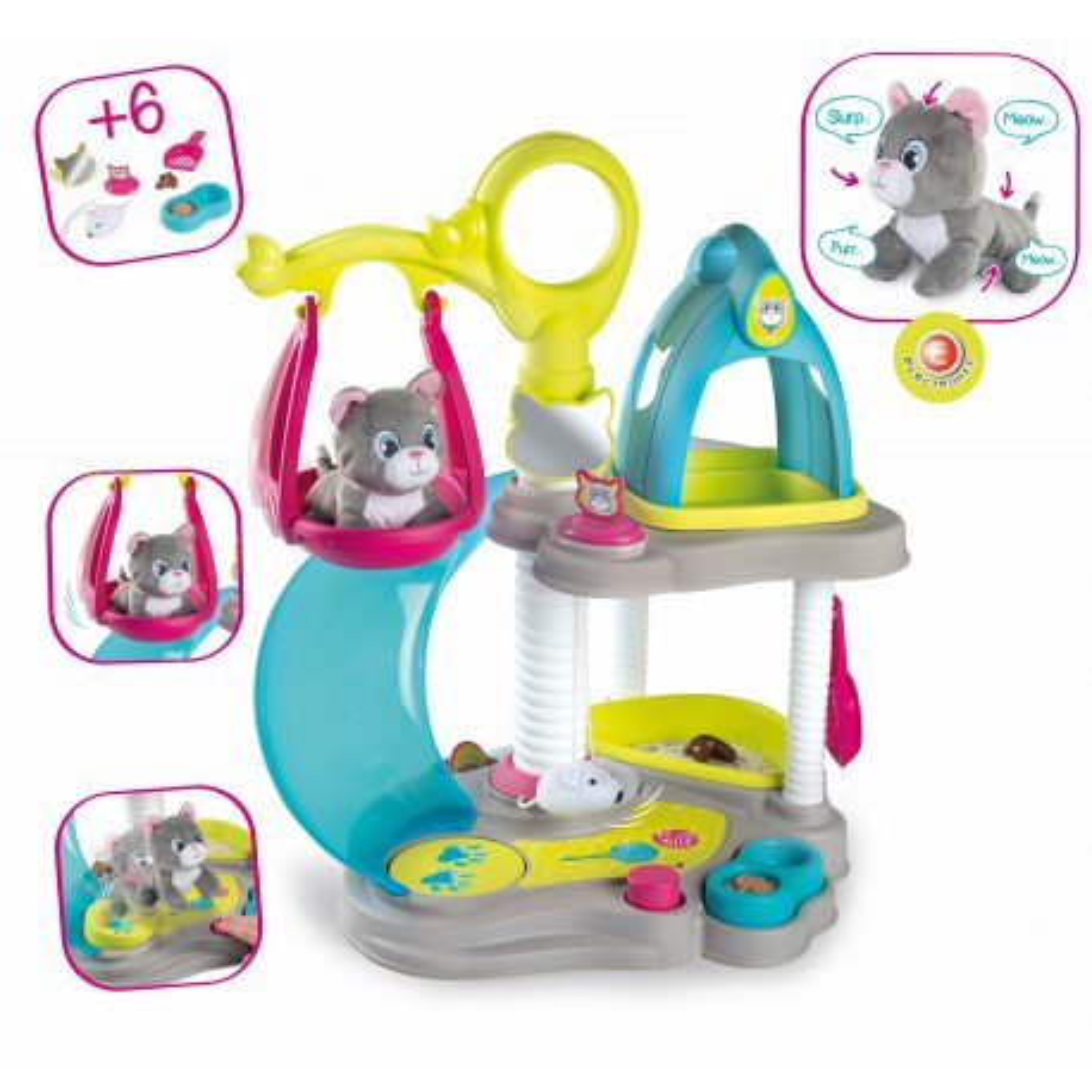 Smoby - Domek dla kotów + Maskotka miauczący kot 340400
