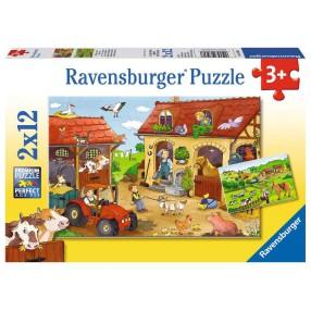 Ravensburger - Puzzle Praca na Farmie 2 x 12 elem. 075607