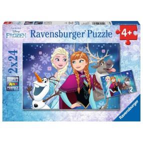 Ravensburger - Puzzle Frozen Kraina Lodu Zorza Polarna 2x24 elem. 090747