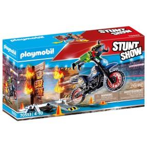 Playmobil - Pokaz kaskaderski: Motor z płonącą przeszkodą 70553