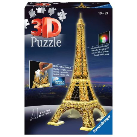 Ravensburger - Puzzle 3D Wieża Eiffla LED Night Edition 125791