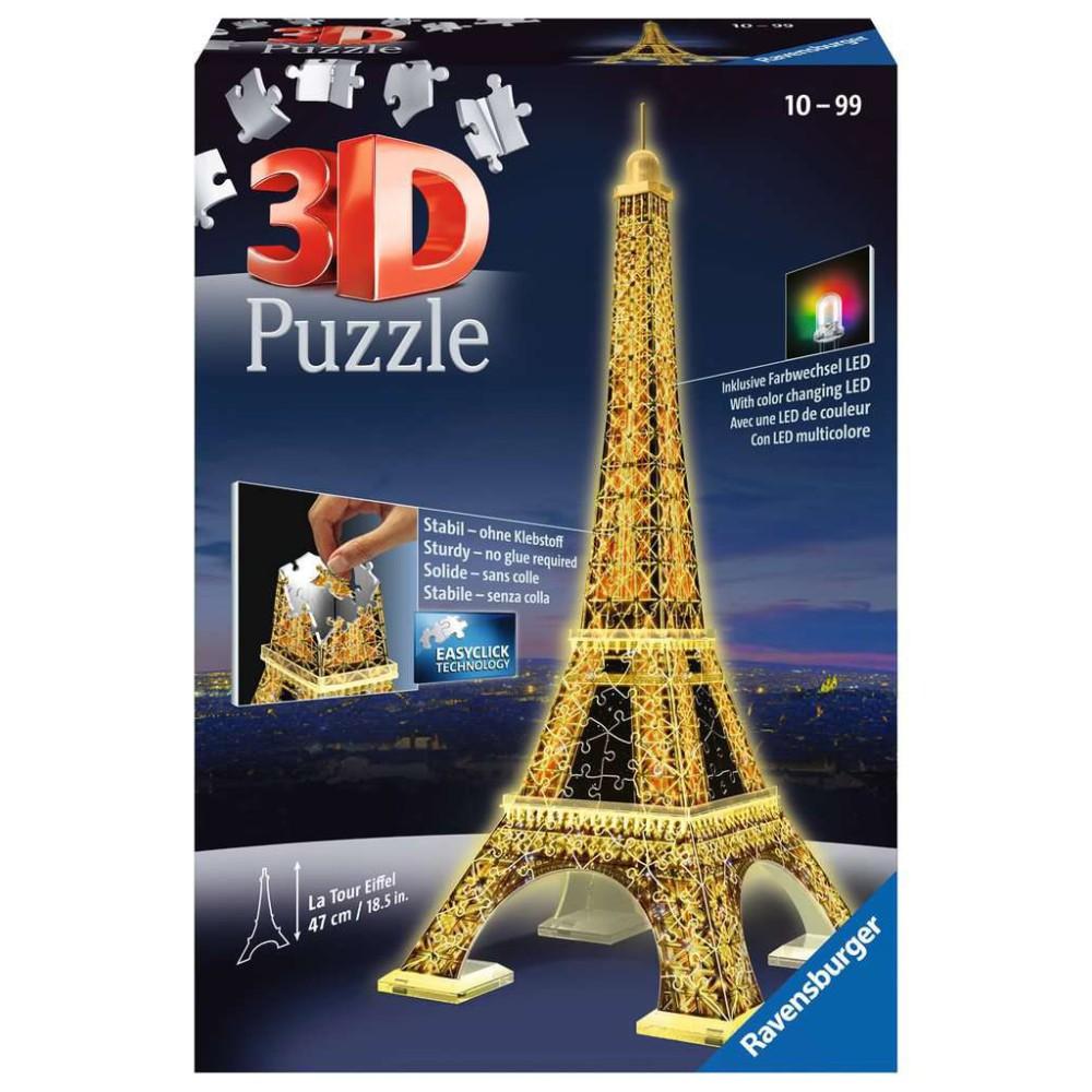Ravensburger - Puzzle 3D Wieża Eiffla LED Night Edition 125791