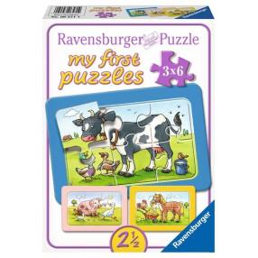 Ravensburger - Moje pierwsze puzzle Zwierzaki 3 x 6 elem. 065714