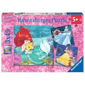 Ravensburger - Puzzle Wieczór Księżniczek Disney'a 3x49 elem. 093502