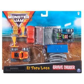 Spin Master Monster Jam - Wyczynowy Zestaw + 2 Superterenówki El Toro Loco i Grave Digger 20125023
