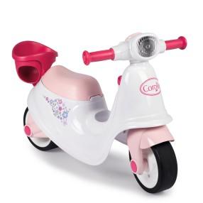 Smoby - Jeździk Skuter biało - różowy Corolle ciche koła 721004