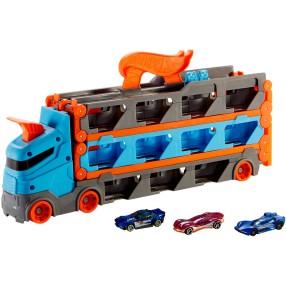 Hot Wheels City - Wyścigowy transporter 2w1 + 3 Samochodziki GVG37