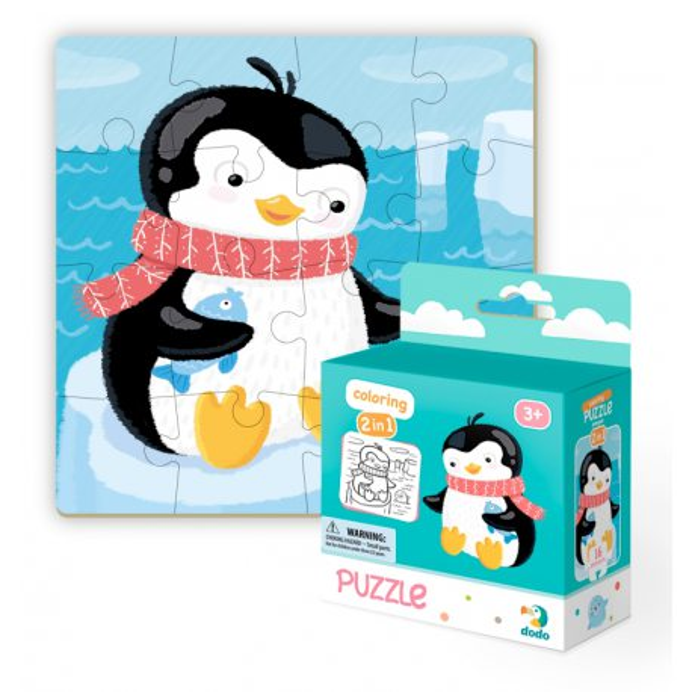 Dodo - Puzzle + Kolorowanka 2w1 Pingwinek 16 el. 300122