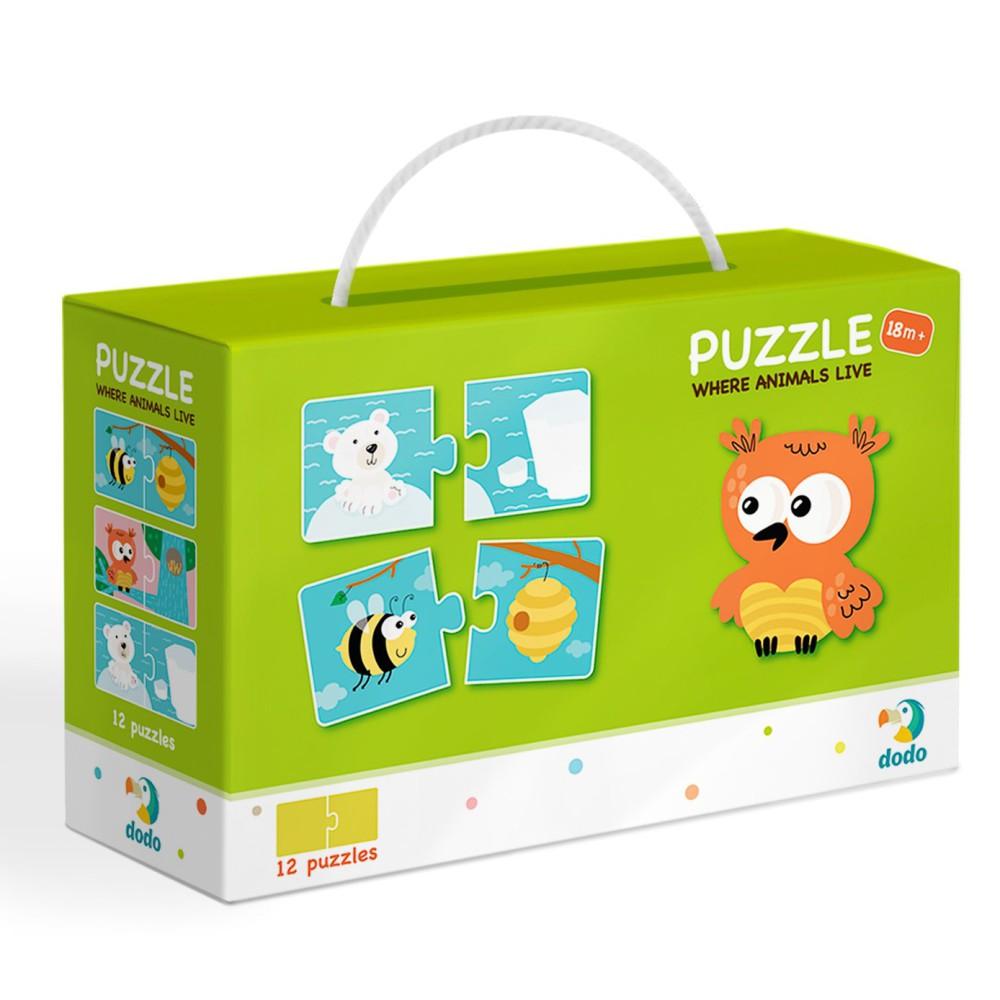 Dodo - Puzzle Duo Gdzie Żyją Zwierzęta 12x2 el. 300117