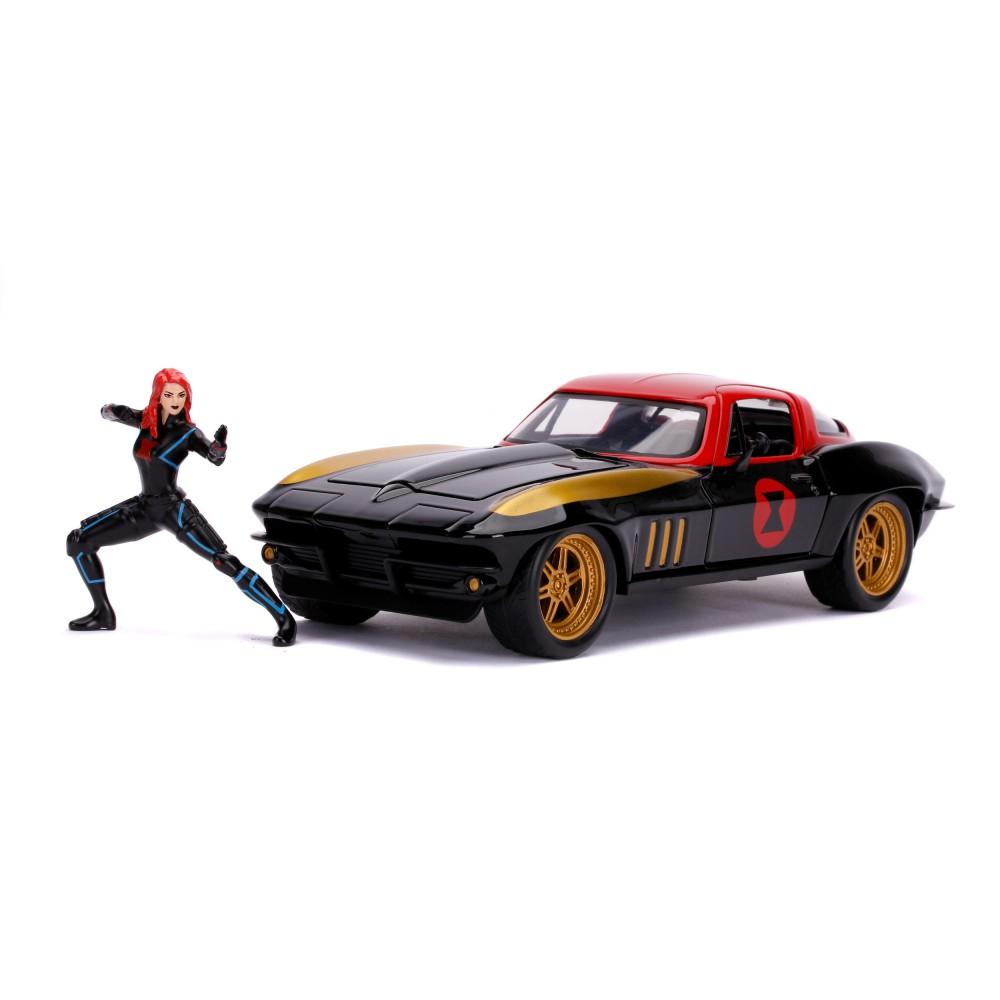 Jada Avengers - Samochód 1966 Chevy Corvette 1:24 + Figurka Black Widow 3225014