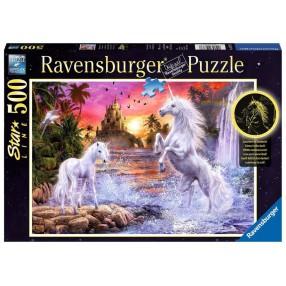 Ravensburger - Puzzle Świecące w ciemności Jednorożce nad rzeką 500 elem. 148738