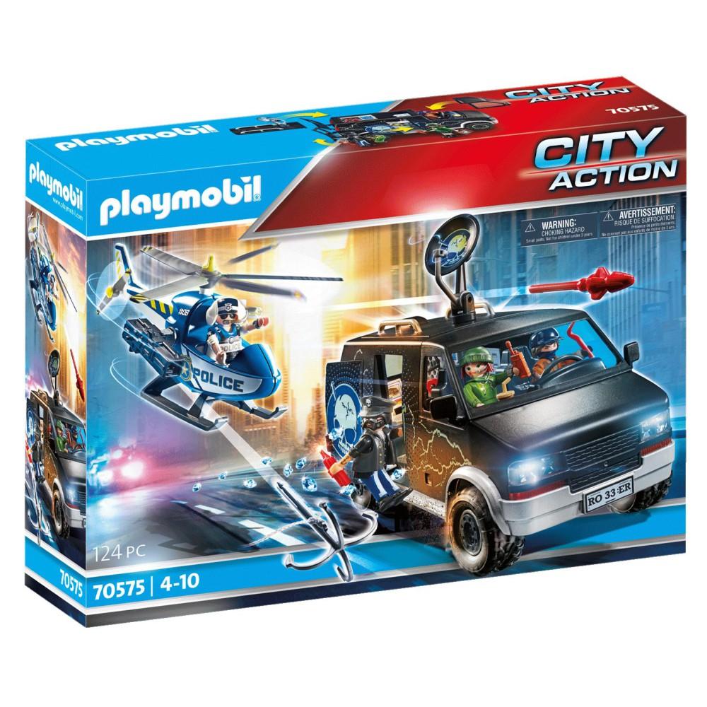 Playmobil - Policyjny helikopter: Pościg za uciekającym samochodem 70575