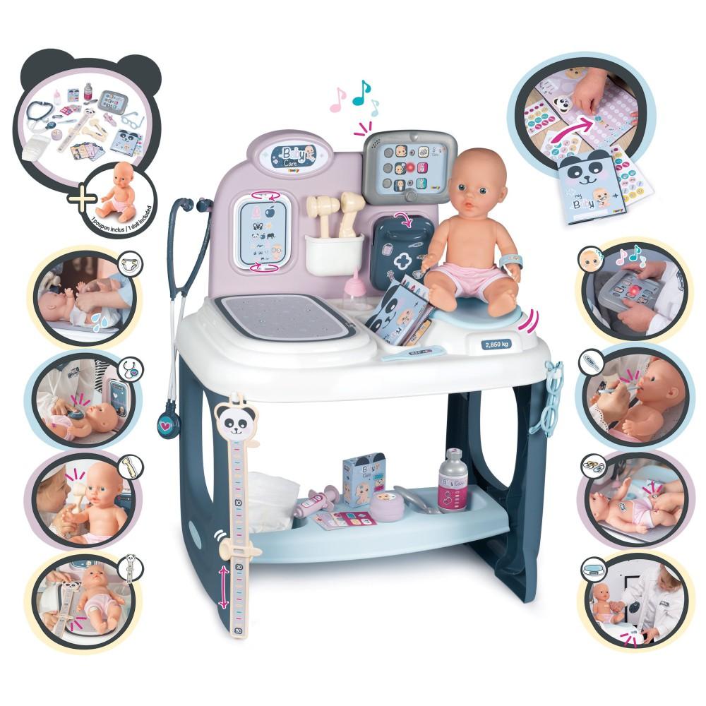 Smoby Baby Care - Elektroniczne Centrum opieki dla lalek Opiekunka + Lalka 240300