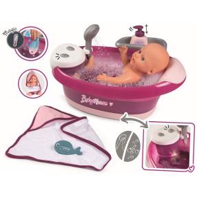 Smoby Baby Nurse - Wanienka do kąpieli z hydromasażem, prysznicem i światłem 220362