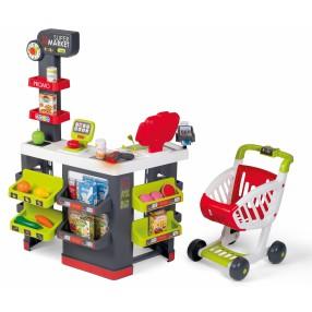 Smoby - Supermarket z elektroniczną kasą, wagą, wózkiem i 42 akcesoriami 350228