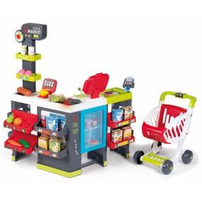 Smoby - Supermarket Maxi Market z elektroniczną kasą, wagą, lodówką, wózkiem i 50 akcesoriami 350229