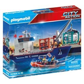 Playmobil - Duży kontenerowiec z łodzią służb celnych 70769