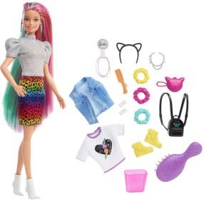 Barbie - Lalka Fryzura Kolorowa panterka GRN81