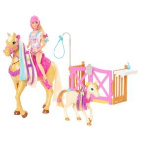 Barbie - Zestaw Koniki Stylizacja i Opieka Lalka Barbie + Figurka Konia i Źrebaka GXV77