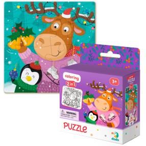 Dodo - Puzzle + Kolorowanka 2w1 Renifer i Pingwin 16 el. 300353