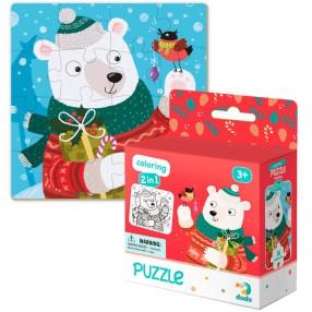 Dodo - Puzzle + Kolorowanka 2w1 Świąteczny Niedźwiadek 16 el. 300355