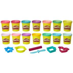 Play-Doh - Ciastolina Zestaw kolorowych i brokatowych tub 14-Pak B6380