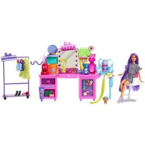 Barbie Extra - Zestaw Toaletka ze światłem Lalka + Akcesoria GYJ70