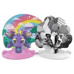 Zoobles - Transformująca Figurka Zwierzątka 2-pak Rainbow Butterfly and Black and White Fox + Akcesoria Happitat 20135095