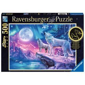 Ravensburger - Puzzle Świecące w ciemności Wilk w zorzy polarnej 500 elem. 149520