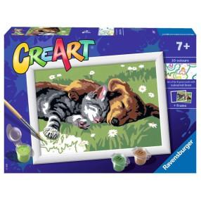 Ravensburger - CreArt Malowanka dla dzieci Śpiący kotek z pieskiem 289301