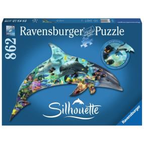 Ravensburger - Puzzle Silhouette Delfiny 862 elem. 161546