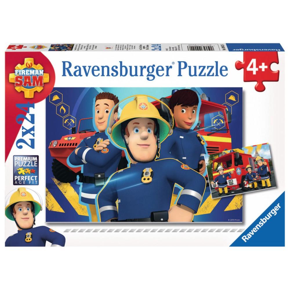 Ravensburger - Strażak Sam niesie pomoc Puzzle 2 x 24 elem. 090426