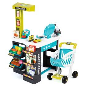 Smoby - Nowy Supermarket z Panelem Kasą elektroniczną Niebieski 350206