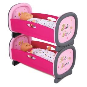 Smoby Baby Nurse - Kołyska łóżeczko dla bliźniąt, łóżko piętrowe 220314