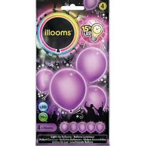 Illooms - Podświetlane balony LED Fioletowe 4 szt. 80004