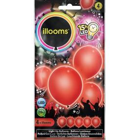 Illooms - Podświetlane balony LED Czerwone 4 szt. 80008
