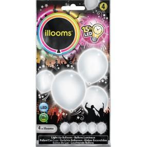 Illooms - Podświetlane balony LED Białe 4 szt. 80025