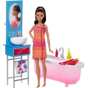 Barbie - Łazienka z lalką i wanną DVX53