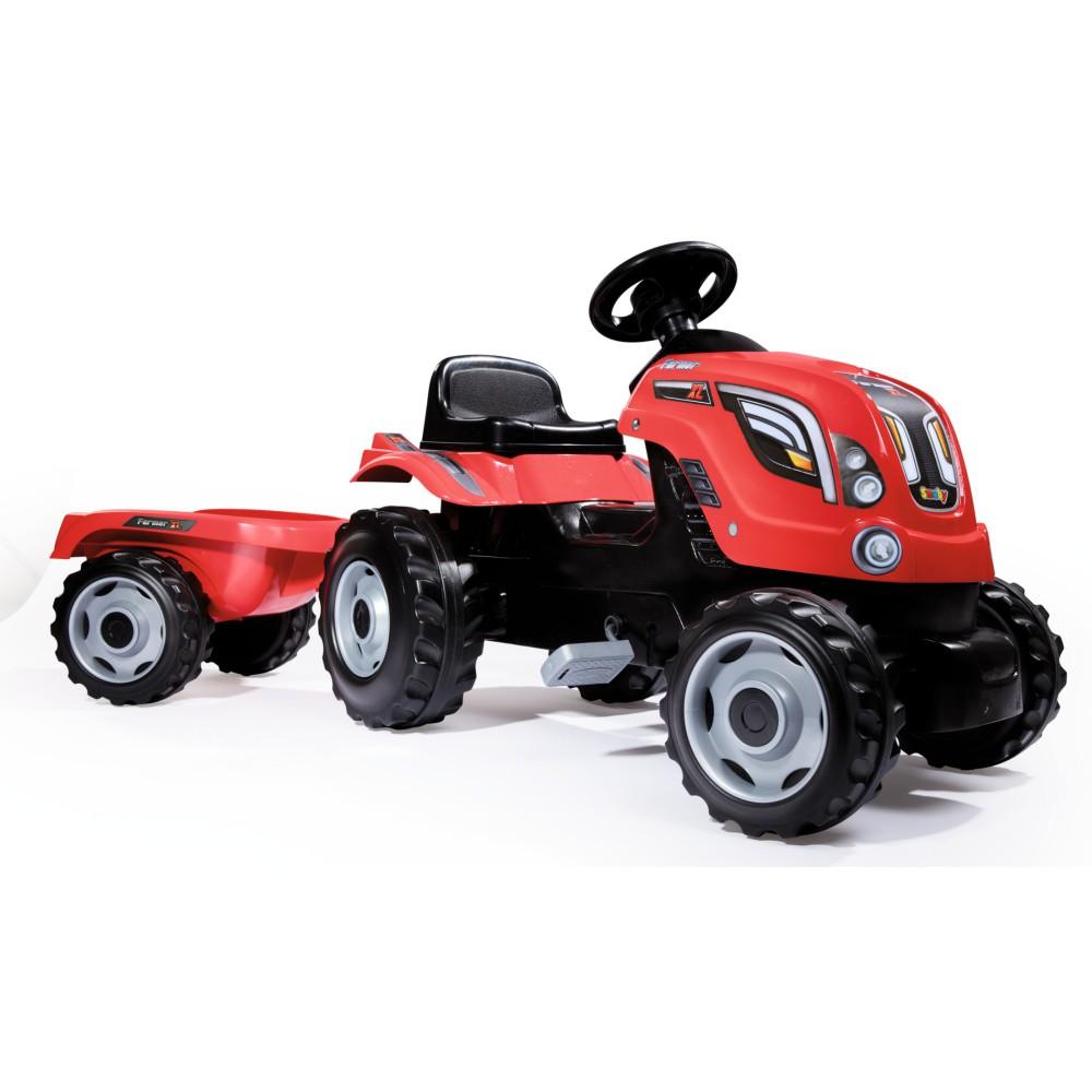 Smoby - Traktor Farmer XL z przyczepą Czerwony 710108