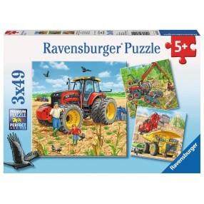Ravensburger - Puzzle Ogromne maszyny 3 x 49 elem. 080120