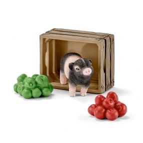 Schleich - Mała świnka ze skrzynką jabłek 42292