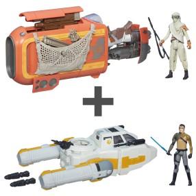 Hasbro Star Wars E7 - ZESTAW Skuter Repulsorowy B3676 + Bombowiec Zwiadowczy Y-Wing B3677