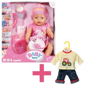 BABY born - Lalka interaktywna Dziewczynka 43 cm 822005 + Ubranko 870037
